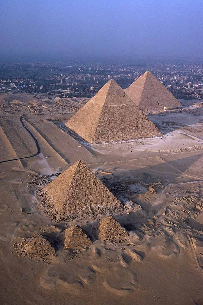 Aerial of the pyramids at Giza