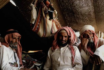Elders of Al-Murrah Bedouin tribe resting in tent in Saudi Arabia's Rub al-Khali, the Empty Quarter. W5793