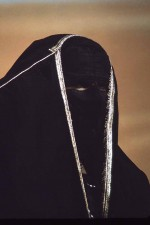 Masked woman. Much tact and respect needed to photograph women of the al-Murrah tribe. W6028